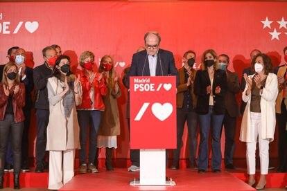 El candidato del PSOE a la Presidencia de la Comunidad de Madrid, Ángel Gabilondo, ofrece una rueda de prensa tras la victoria de Isabel Díaz Ayuso.