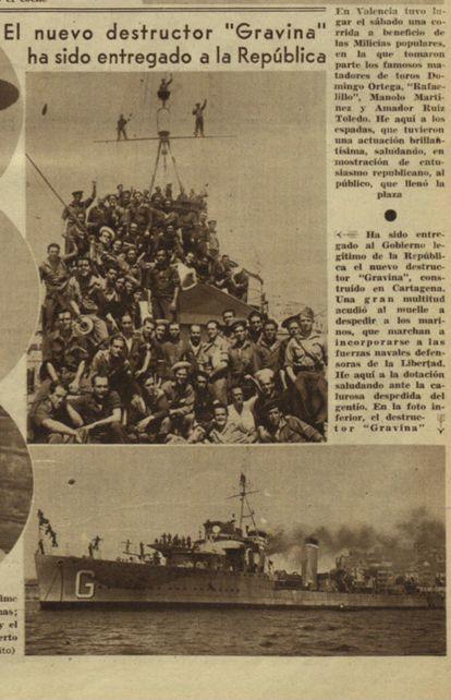 Página del periódico 'Ahora', del 1 de septiembre de 1936, donde se anuncia la entrega del 'Churruca' al Gobierno de la República.