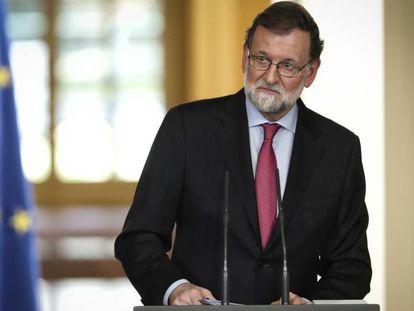 Mariano Rajoy, en la rueda de prensa de este viernes en La Moncloa.
