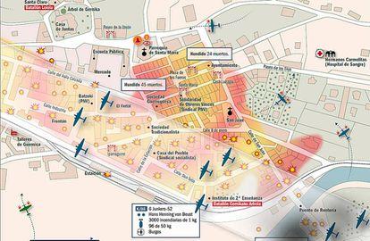 Detalle del mapa del bombardeo de Gernika el 26 de abril de 1937, extraído del atlas La Legión Cóndor.