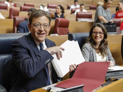 El presidente de la Generalitat, Ximo Puig, y la vicepresidenta, Mónica Oltra.