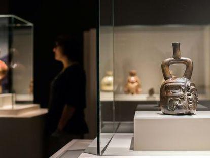 Obras de la exposición 'El arte mochica del antiguo Perú' en CaixaForum.