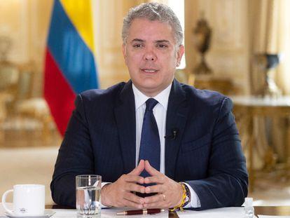 El presidente colombiano, Iván Duque, durante una comparecencia en el Palacio de Nariño en Bogotá.