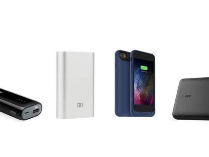 De izquierda a derecha, los cuatro modelos probados: Candy Bar de Anker, Mi Powerbank 10.000 de Xiaomi, la funda batería de Mophie y Power Core + de Anker.