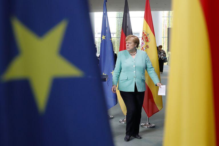 Angela Merkel, en una rueda de prensa en Berlín, el pasado 14 de julio.