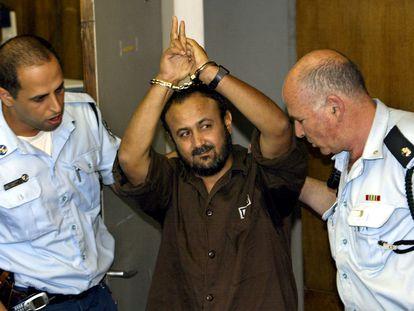 El líder palestino Marwan Barguti, ante el tribunal de Tel Aviv que le juzgó en 2004.