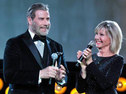 John Travolta y Olivia Newton John, el pasado sábado en Los Ángeles.