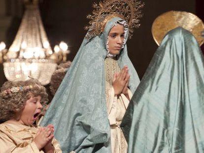 Una escena del ensayo del Misteri, el sábado por la noche en la basílica de Santa María de Elche.