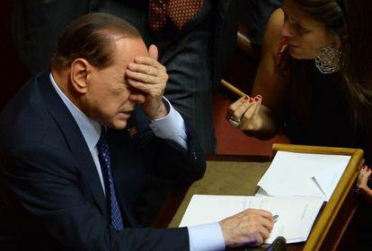 Berlusconi, en el Senado, a principios de octubre.
