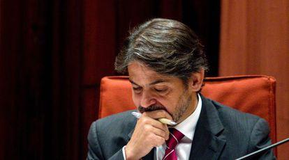Oriol Pujol, en su comparecencia en el Parlament el pasado julio para rendir cuentas por el 'caso Palau'.