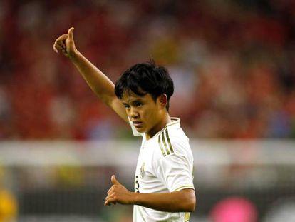 Takefusa Kubo, en un partido de la pretemporada del Real Madrid, contra el Bayern Múnich.