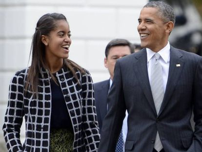 Barack Obama, con su hija Malia.