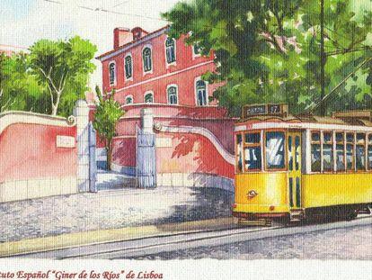 Postal del Instituto Español en Lisboa.