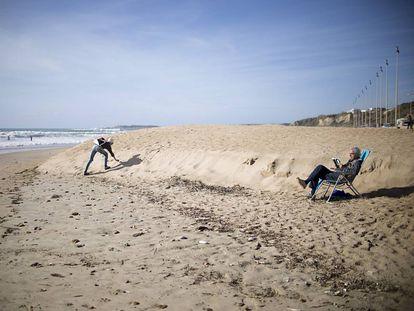 Aspecto invernal en la playa de la Fontanilla, en Conil de la Frontera (Cádiz)