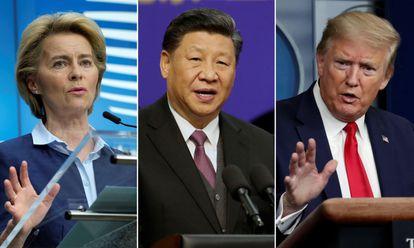 De izquierda a derecha,  Ursula Von der Leyen, Xi Jinping, y Donald Trump.