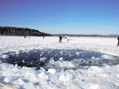 Punto del impacto del meteorito de Cheliabinsk, en Rusia.
