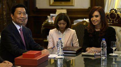 Li Yuanchao, vicepresidente de China, con Cristina Fernández.