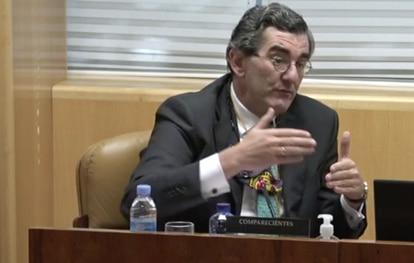 Juan Abarca, presidente de HM Hospitales, este viernes en la Asamblea de Madrid durante su intervención en la comisión de investigación de las muertes en residencias.
