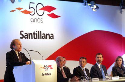 Javier Marías, durante el acto de celebración de los 50 años de Santillana.