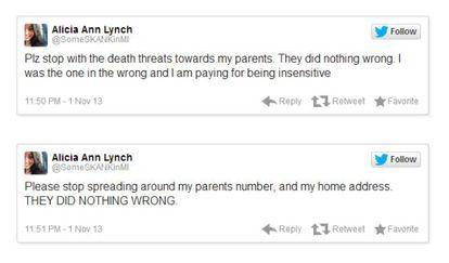 Tuits de Alicia Ann Lynch pidiendo que pare el acoso.