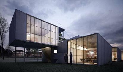 'Rendering' a escala de Bambos House, la casa prefabricada que diseñó Marcel Breuer. |
