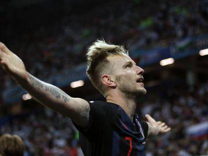 Rakitic celebra su gol frente a Argentina, el pasado jueves.
