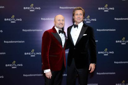 El nuevo CEO de Breitling Georges Kern y el actor Brad Pitt.
