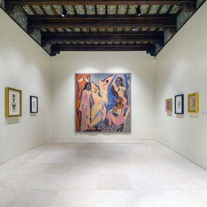 Tapiz de Jacqueline Dürrbach según 'Las señoritas de Aviñón', de Picasso (1958) en el Museo Picasso Málaga.