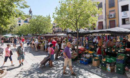 Aspecto de la plaza de Plasencia, el pasado 1 de agosto, Martes Mayor, el día de mercado más importante del año.