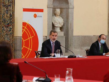 Felipe VI, durante la reunión anual del Consejo Científico del Real Instituto Elcano, el pasado 23 de noviembre en el Palacio de El Pardo.