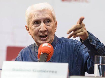 Balbino Gutiérrez, en la presentación de su biografía de Enrique Morente, en abril de 2018 en la SGAE.