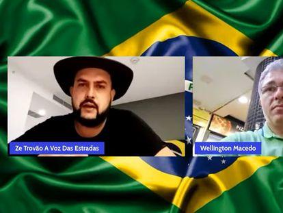 El líder camionero Zé Trovão, a la izquierda, con el periodista Wellington Macedo en una emisión de YouTube de finales de agosto.