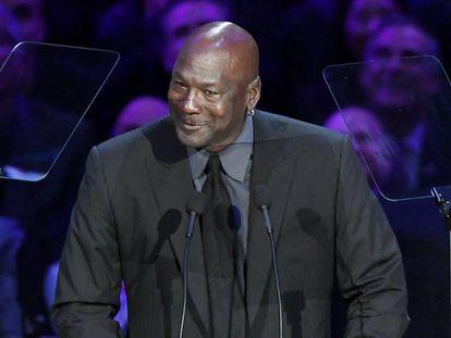 Michael Jordan, durante el homenaje a Kobe Bryant.