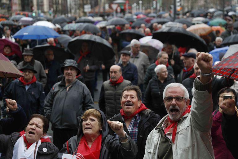 Una movilización de jubilados en Bilbao.