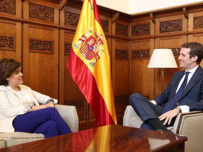 Santamaría y Casado, durante su entrevista en el Congreso.