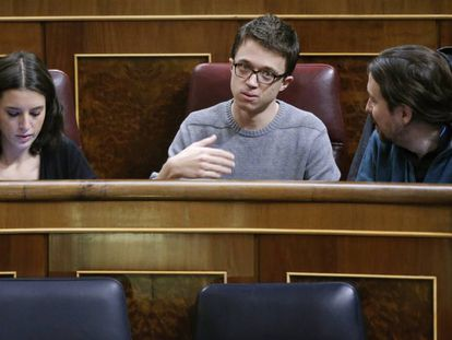 Irene Montero, Íñigo Errejón y Pablo Iglesias.