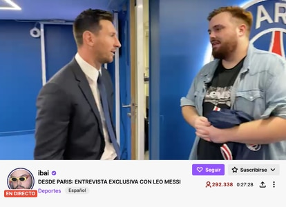 Un momento de la conexión en vivo entre Messi e Ibai Lanos en Twitch.
