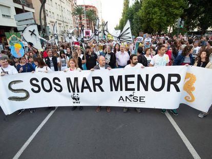 Manifestación en defensa del Mar Menor en Cartagena, el 30 de octubre.