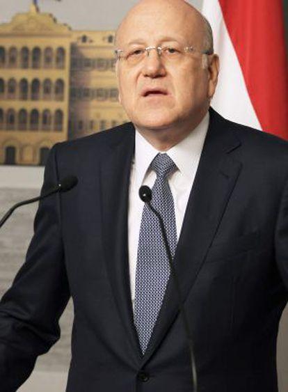 El primer ministro libanés, Nayib Mikati, durante su comparecencia.