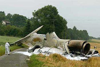 Estado en el que quedó el Tupolev estrellado al sur de Alemania en julio de 2002.