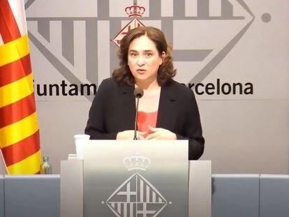 La alcaldesa de Barcelona, Ada Colau, en rueda de prensa telemática.  EUROPA PRESS 14/05/2020