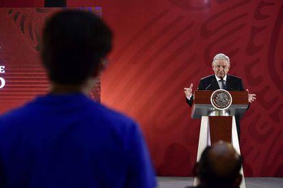El presidente López Obrador en rueda de prensa.