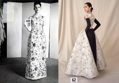 Primera foto: vestido de Cristóbal Balenciaga para la colección de verano de 1960, en el que se inspira Demna Gvasalia para una de sus última creaciones (segunda foto).