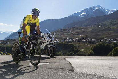 Nairo Quintana, durante la contrarreloj de Sion.
