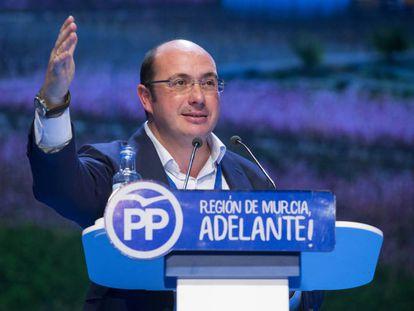 Pedro Antonio Sánchez, expresidente de Murcia en un mitin político.