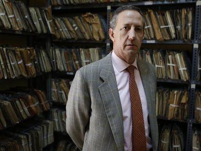 Jaime Alonso, portavoz de la fundación Francisco Franco, en la sede de Madrid, en 2015.