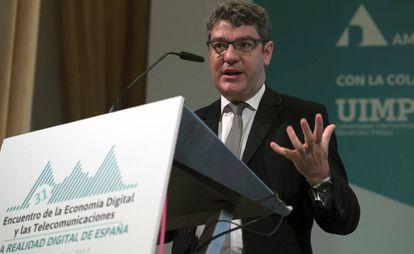 El ministro de Energía, Alvaro Nadal, durante su participación en el 31º Encuentro de la Economía Digital y las Telecomunicaciones.