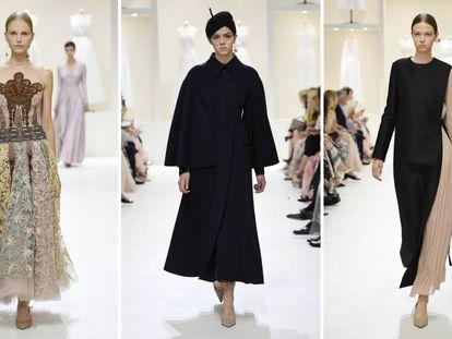 Tres modelos del desfile de Alta Costura de Dior otoño/invierno 2018-2019.