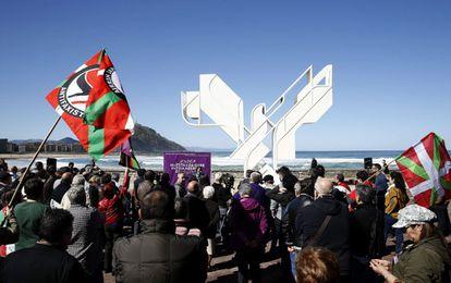 Acto organizado por Podemos Euskadi en San Sebastián para celebrar el Aberri Eguna.