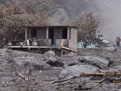 Una de las comunidades de Escuintla, en Guatemala, tras erupción del Volcán de Fuego.